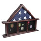 3-Bay Shadow Box Mantle Flag Holder with Section for Patches
