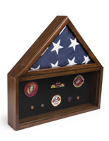 Flag and Memorabilia Commemorative Shadow Box with Medal Box