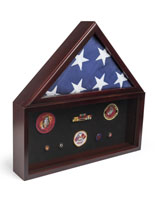 Flag and Memorabilia Commemorative Display Case with 2 Sections for Banner and Medals