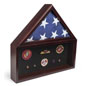 Mahogany Flag and Memorabilia Commemorative Display Case