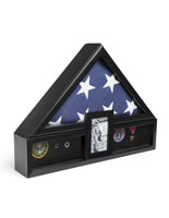 Ceremonial Flag Display Case with Photo Display with 5 x 7 Frame
