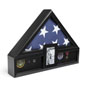 Ceremonial Flag Display Case with Photo Display for 5' x 9.5' Tri-Fold Banners