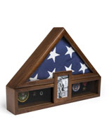 Ceremonial Flag Display with Photo Frame and Medal Boxes