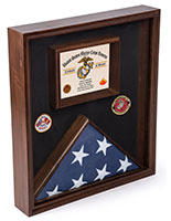 Flag Display Case for Certificate with Traditional Military Look