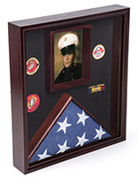 Flag and Certificate Display Case with Glear Glass Front