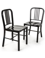 Black Metal Café Chair in Set of Two with Fully Welded Construction