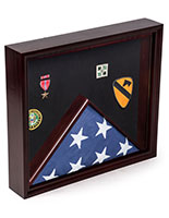 Flag and Medal Display Case with Award Compartment