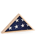 Natural hardwood folded flag case with mounting hardware included