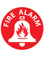 Fire alarm floor safety sign with pre-printed pictogram and text