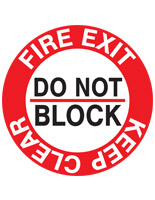 Fire safety exit sticker with pre-printed messaging