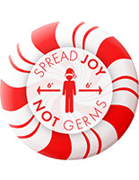 12-inch holiday social distancing floor graphic with pre-printed candy cane design on non-slip vinyl