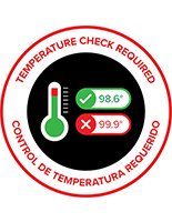 12 inch round bi-lingual temperature check floor sticker with textured surface