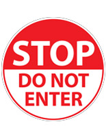 No entry floor decal with pre-printed graphics