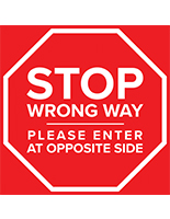 Stop directional floor decal with removable adhesive backing