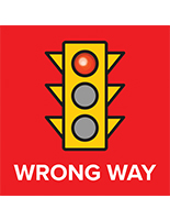 Wrong way vinyl floor decal with full bleed graphics