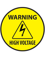 High voltage warning safety decal with pre-printed graphics