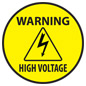Round yellow and black high voltage warning safety decal
