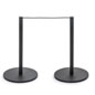Connected Floor Poles of the 8-Barrier Black Low Profile Stanchion System