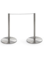 2 Floor Posts and Rope of the 6-Stanchion Silver Low Profile Barrier Set