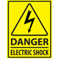 yellow and black electric danger safety floor marker sign