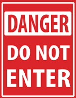 Danger floor decal do not enter safety sign with pre-printed graphics