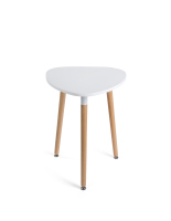 Low modern triangle accent table is 25 inches high