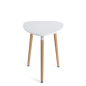 White low modern triangle accent table with 20 inch top