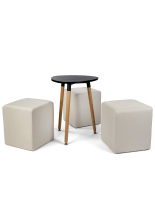 Black low triangular MDF coffee table seating set