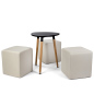 Black low triangular MDF coffee table seating set with upholstered cubes