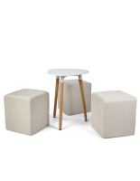 White triangle coffee table with foam cube seating