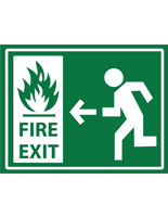 Non-slip safety fire exit sign with white text on green background