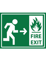 Green non-slip safety fire exit sticker