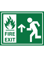 Non-slip stick on fire exit safety sign with white text on green
