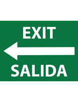 Bilingual exit safety decal sticker with white text on green