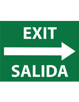 Bilingual exit safety decal sign with right arrow