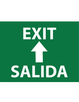 Green bilingual exit safety stick-on floor sign