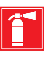Industrial fire safety decal with pre-printed extinguisher pictogram