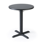 "Black 24"" wide pedestal cafe table"