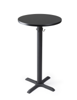 24-Inch round black cruiser table in pub height