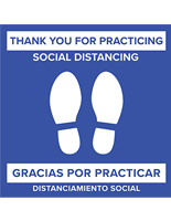 "Removable 24"" bilingual social distancing floor sticker for line spacing"