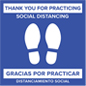 "24"" bilingual social distancing floor sticker with stock messaging"
