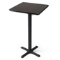 Tall square pub table with heavy duty base