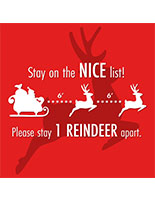 Round social distance floor decal with holiday message and pre-printed reindeer graphic