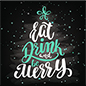 "24"" x 24"" square winter floor decal with ""Eat, Drink, and Be Merry"" message"