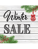"24"" x 24"" square ""Winter Sale"" floor decal with festive theme"