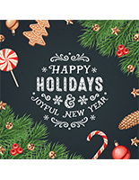 "24"" x 24"" square ""Happy Holidays"" floor decal with festive artwork"
