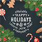 "24"" x 24"" square ""Happy Holidays"" floor decal with adhesive backer"