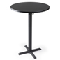 "Black bar table with 30"" round top"