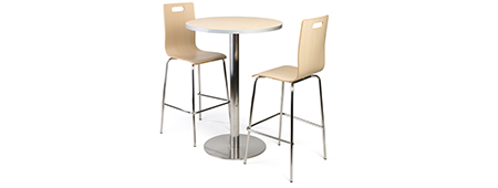 Light wood dining set with 2 stackable seats