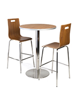 Tall bar table lunchroom set in dark finish